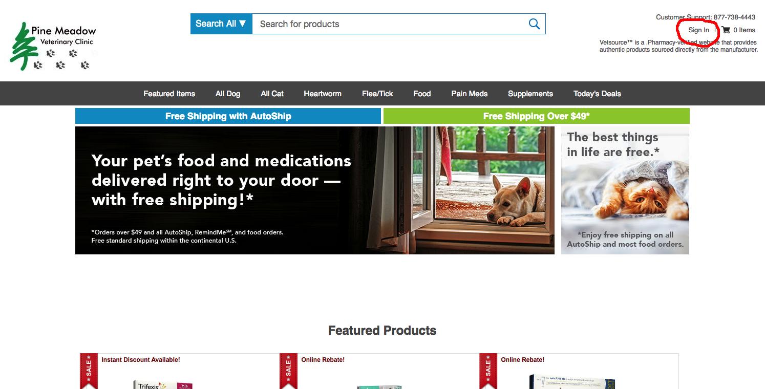 Pine Meadow Vet Source online pharmacy